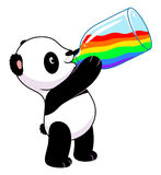 Panda drinks rainbow stock illustration