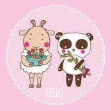 Panda e pecore Immagine Stock Libera da Diritti