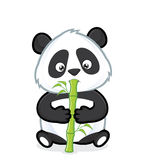 Panda eating bamboo. Clipart picture of a panda cartoon character eating bamboo royalty free illustration