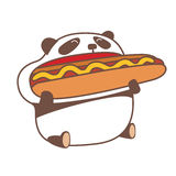 Panda eating huge hot dog. Royalty Free Stock Image