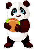Panda eats hamburger Royalty Free Stock Photography
