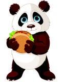 Panda eats hamburger. Illustration of cute Panda eats hamburger Royalty Free Stock Photography