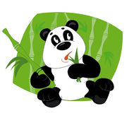 Panda eats leaves. Panda sit and eats leaves bamboo Vector Illustration