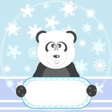 Panda with empty blank and snow vector background Stock Image