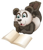 A panda with an empty book. Illustartion of a panda with an empty book on a white background Stock Image