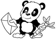 Panda en Brief royalty-vrije illustratie