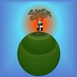 Panda en el árbol Árbol en el planeta Imagenes de archivo