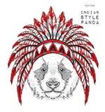 Panda en la cucaracha india Tocado indio de la pluma del águila Tienda extrema del deporte Foto de archivo