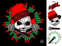 Panda enojada y dos micrófonos Batalla del hip-hop ilustración del vector