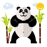Panda et bambou de vecteur Illustration colorée de bande dessinée de style plat illustration stock