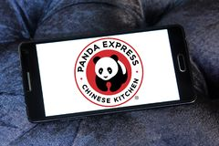 Panda Express restaurant chain logo. Logo of Panda Express restaurant on samsung mobile. Panda Express is a fast casual restaurant chain which serves American royalty free stock photo