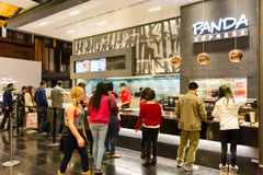 Panda Express in Westfield Shopping Center. People waiting in line to purchase food from Panda Express Stock Image