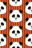 Panda för sömlös modell för vektor rolig på röd bandbakgrund Royaltyfria Bilder