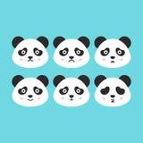 Panda Faces plat Photographie stock