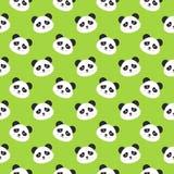 Panda Faces Seamless Pattern heureux Photo stock