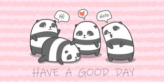 Panda family in cartoon style. royalty free illustration