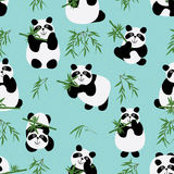 Panda family seamless pattern. Illustration green color background panda bamboo seamless pattern cute Stock Images