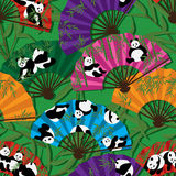 Panda fan seamless pattern. This illustration is design and drawing panda in fan with seamless pattern on bamboo and green color background royalty free illustration