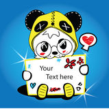 Panda fancy show the label. . Panda fancy show the label on blue background Royalty Free Stock Images