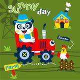Panda the farmer funny animal cartoon,vector illustration. For t shirt and wallpaper or book stock illustration