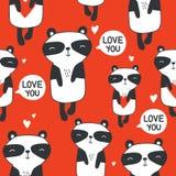 Panda felici con i cuori, modello senza cuciture variopinto Fondo sveglio decorativo con gli animali illustrazione di stock