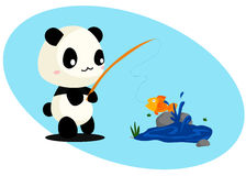 Panda and Fish Stock Images