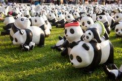 Panda flashmob bij Lumpini-park Royalty-vrije Stock Fotografie
