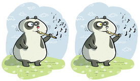 Panda with Flute Differences Visual Game Stock Images