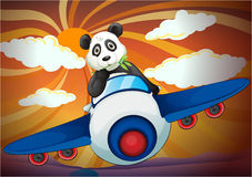 Panda flying in air plane. Illustration of a panda flying in air plane Royalty Free Stock Image