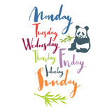 Panda font Days of the week Handwritten calligraphy Colorful set Royalty Free Stock Photography