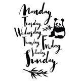 Panda font Days of the week Handwritten calligraphy Royalty Free Stock Photos