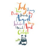 Panda font Handwritten calligraphy Months of year Black color Co. Lorful set Poster Stock Images