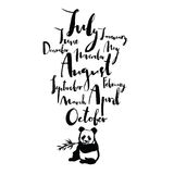 Panda font Handwritten calligraphy Months of year Black color. Set Stock Photo