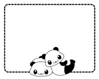 Panda frame / border. Cute panda bear couple on white background. specially for valentines day designs Royalty Free Stock Photos