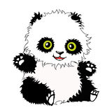 Panda. Funny shaggy panda in a sitting position Royalty Free Stock Photos
