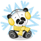 Panda in a fur headphones. On the background of snowflake stock illustration