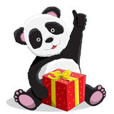 Panda and gift box. Panda hugs its present isolated on white background Stock Photography