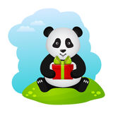 Panda with gift. Vector illustration. Stock Photos