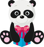 Panda with giftbox. Cute isolated panda with gift box Stock Photography
