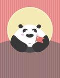 Panda gigante con la bandera china en sus manos El carácter amistoso del país stock de ilustración