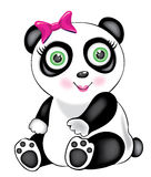 Panda girl. Illustration of the isolated panda girl with green eyes and pink bow Royalty Free Stock Photo