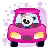 Panda girl in a car Royalty Free Stock Images