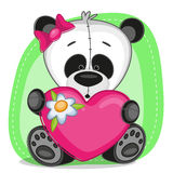 Panda girl with heart Royalty Free Stock Images
