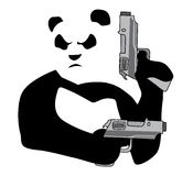 Panda with guns2. Panda with guns on white background Stock Photography