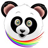 Panda Happy Face Rainbow Eyes Royalty Free Stock Image