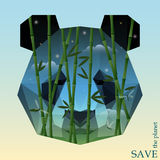 Panda head with bamboo on the night sky background. onceptual illustration on the theme of protection of nature and animals Stock Photos