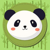 Panda Head Cartoon sveglio sul fondo di bambù di vettore Fotografia Stock Libera da Diritti