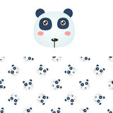Panda Head Icon And Pattern illustration stock