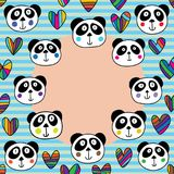 Panda head love circle frame. This illustration is design and drawing panda head love with circle frame template stock illustration