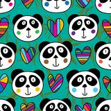 Panda head love seamless pattern. This illustration is design and drawing symmetry panda head and love with decoration bamboo leaves in seamless pattern green royalty free illustration